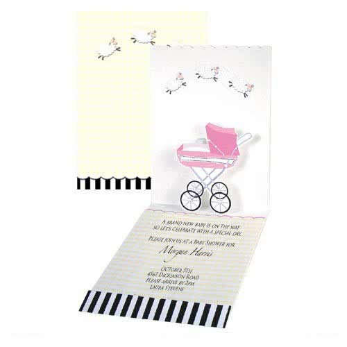Pop-up Pink Baby Carriage Baby Shower Invitations