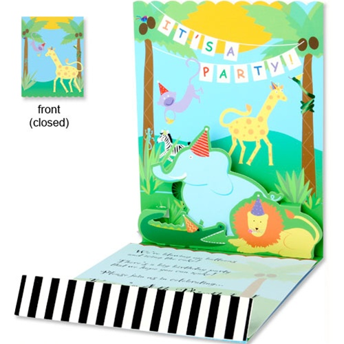 Pop-up Jungle Animals Baby Shower Invitations