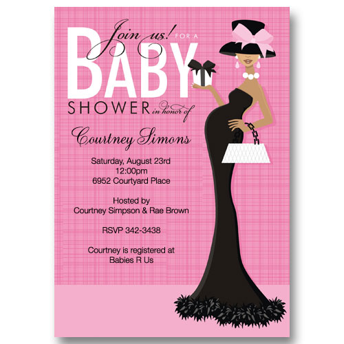 Posh Pink African American Baby Shower Invitations