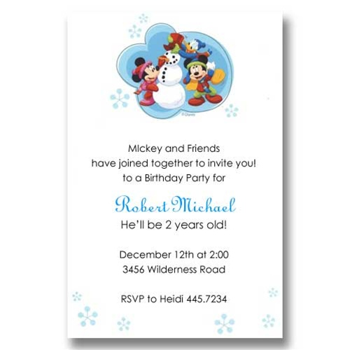 Mickey Friends Snowman Birthday Invitations