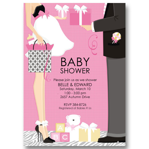 Pink Expectant Couple Baby Shower Invitations