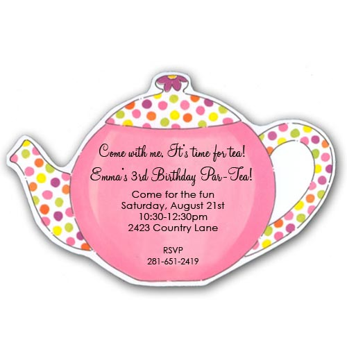 Polka Dots Tea Party Birthday Invitations