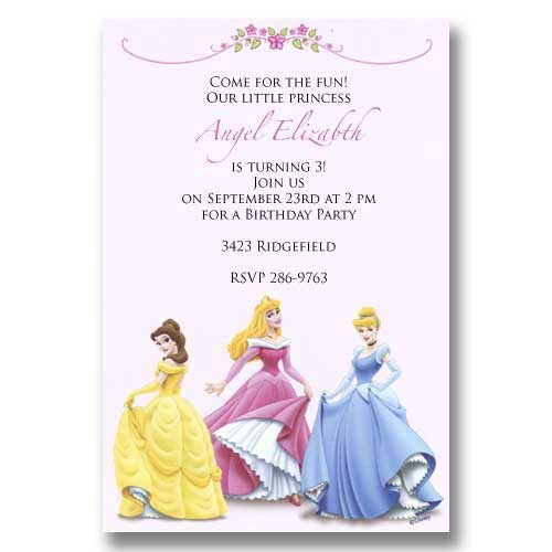 Disney Princess Baby Birthday Invitations