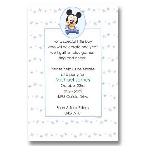 Disney Baby Mickey Birthday Invitations
