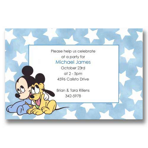 Disney Baby Mickey Pluto Birthday Invitations