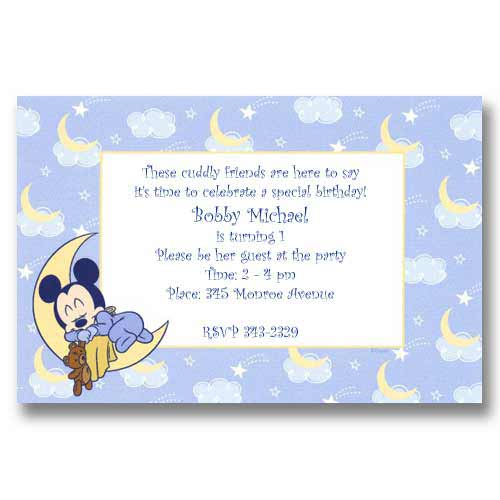 Disney Baby Mickey Moon Birthday Invitations