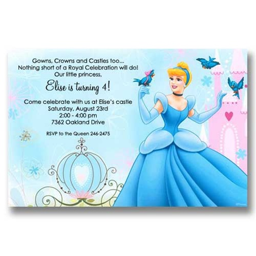 disney birthday invitations – Cinderella Birthday Card