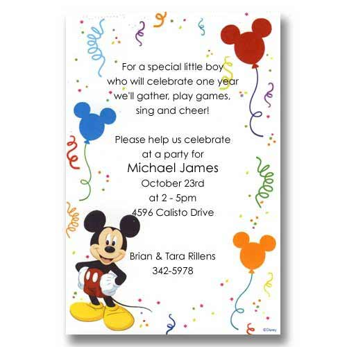Disney Mickey Mouse Balloons Baby Birthday Invitations