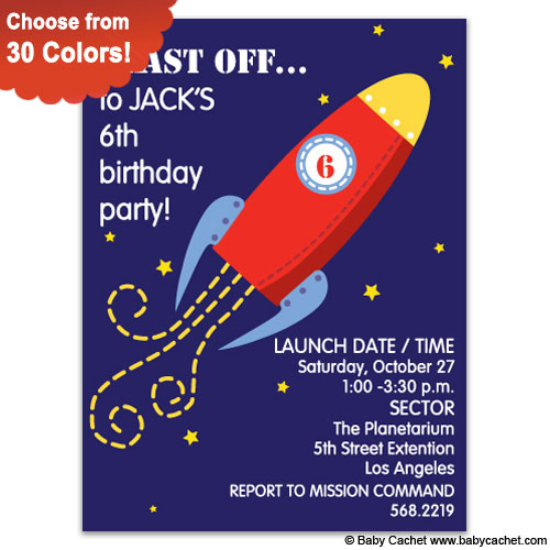 Spaceship Blast Birthday Invitations