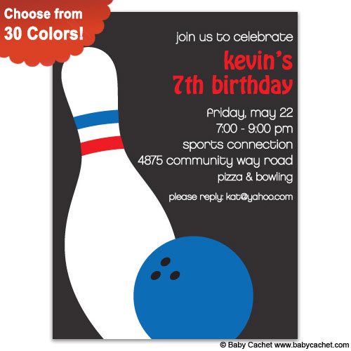 Bowling Blast Birthday Invitations