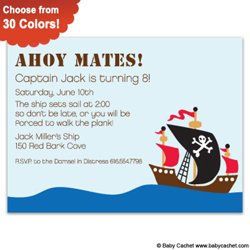 Ahoy Mates Birthday Invitations