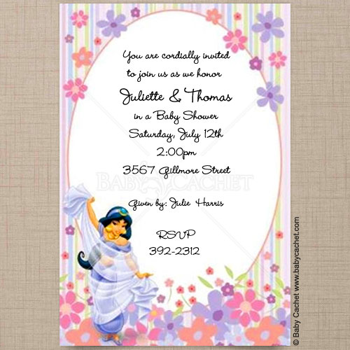 Disney Princess Jasmine Baby Shower Invitations