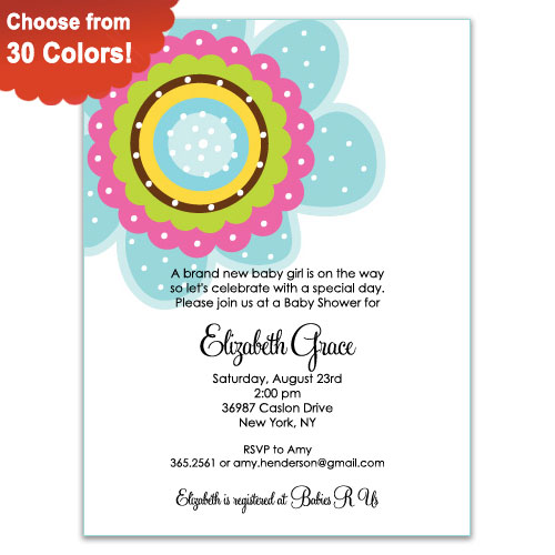 Flower Pop Baby Shower Invitations