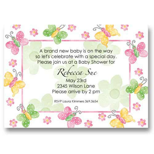Butterfly Flower Baby Shower Invitations