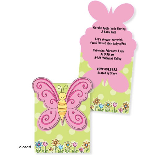 Butterfly Flutter Baby Shower Invitations