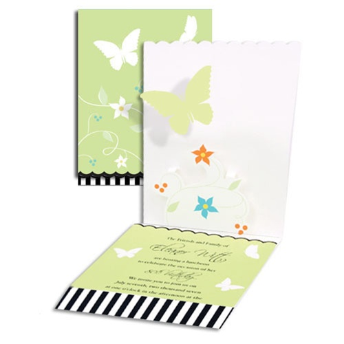 Pop-up Butterfly Flower Baby Shower Invitations
